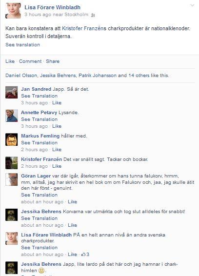 Lisa ger uppmuntran på facebook